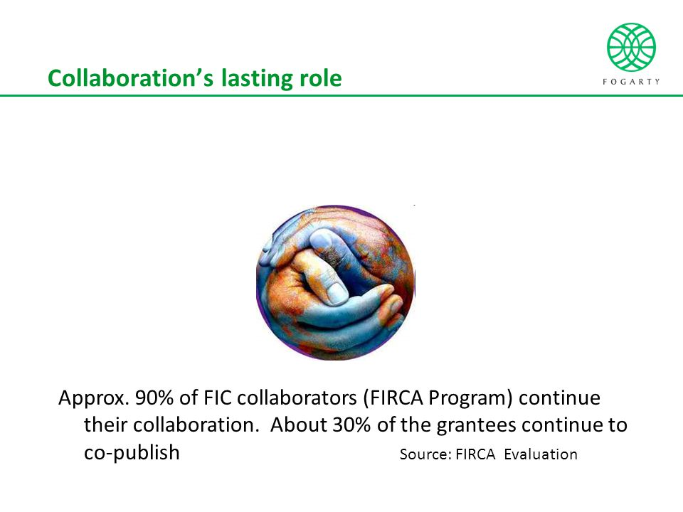 Collaboration's lasting role Approx. 90% of FIC collaborators (FIRCA Program) continue their collaboration. About 30% of the grantees continue to co-p