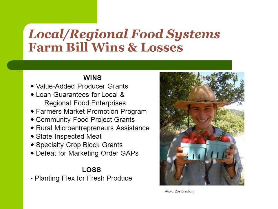 CFP Funding Information Most Recent Community Food Project Grant Funding Info – FY2008 Estimated Total Program Funding $4,600,000 Range of Awards$10,000 - $300,000 % Applications Funded28% Cost Sharing Requirements Dollar for dollar matching required, except for T&TA projects