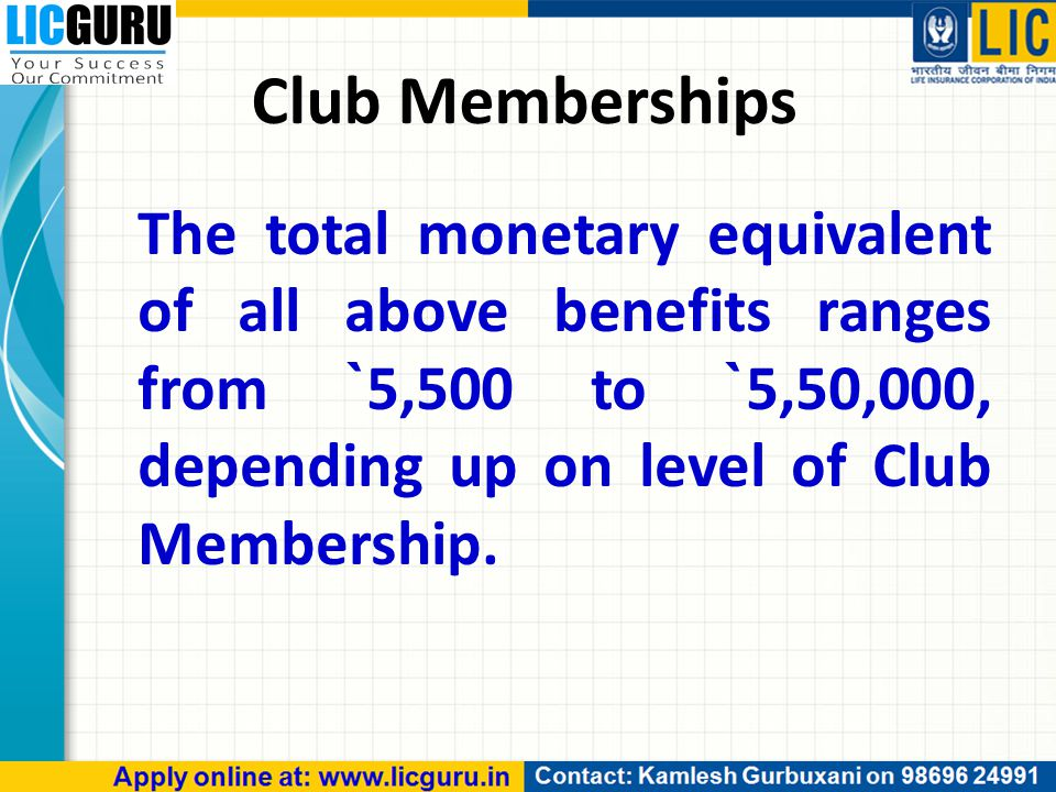 Club Memberships The total monetary equivalent of all above benefits ranges from ` 5,500 to ` 5,50,000, depending up on level of Club Membership.