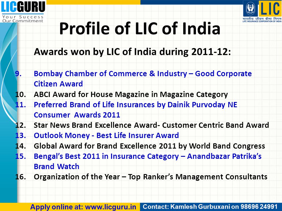 Profile of LIC of India Awards won by LIC of India during 2011-12: 9.Bombay Chamber of Commerce & Industry – Good Corporate Citizen Award 10.ABCI Award for House Magazine in Magazine Category 11.Preferred Brand of Life Insurances by Dainik Purvoday NE Consumer Awards 2011 12.Star News Brand Excellence Award- Customer Centric Band Award 13.Outlook Money - Best Life Insurer Award 14.Global Award for Brand Excellence 2011 by World Band Congress 15.Bengal's Best 2011 in Insurance Category – Anandbazar Patrika's Brand Watch 16.Organization of the Year – Top Ranker's Management Consultants