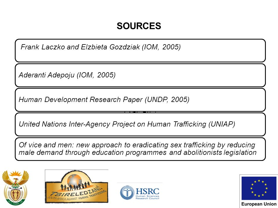 SOURCES Frank Laczko and Elzbieta Gozdziak (IOM, 2005) Aderanti Adepoju (IOM, 2005)Human Development Research Paper (UNDP, 2005)United Nations Inter-Agency Project on Human Trafficking (UNIAP) Of vice and men: new approach to eradicating sex trafficking by reducing male demand through education programmes and abolitionists legislation