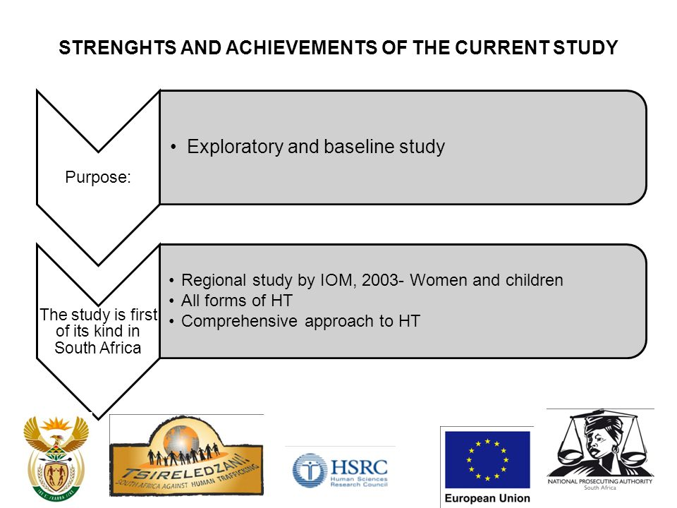STRENGHTS AND ACHIEVEMENTS OF THE CURRENT STUDY Purpose : Exploratory and baseline study The study is first of its kind in South Africa Regional study by IOM, 2003- Women and children All forms of HT Comprehensive approach to HT