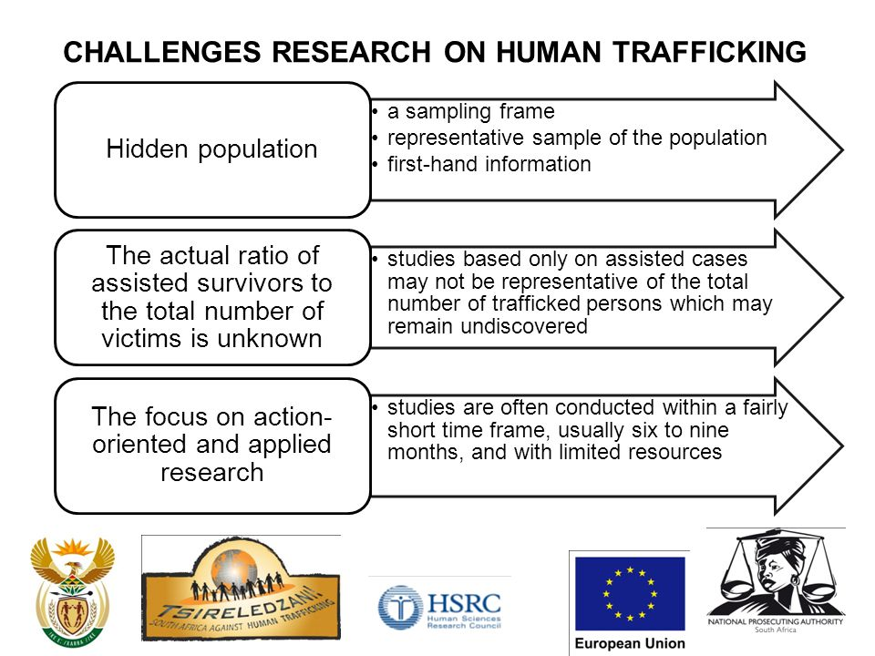 CHALLENGES RESEARCH ON HUMAN TRAFFICKING a sampling frame representative sample of the population first-hand information Hidden population studies based only on assisted cases may not be representative of the total number of trafficked persons which may remain undiscovered The actual ratio of assisted survivors to the total number of victims is unknown studies are often conducted within a fairly short time frame, usually six to nine months, and with limited resources The focus on action- oriented and applied research