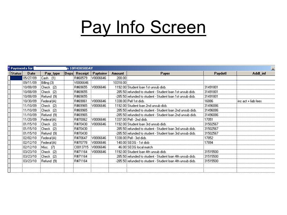 Pay Info Screen