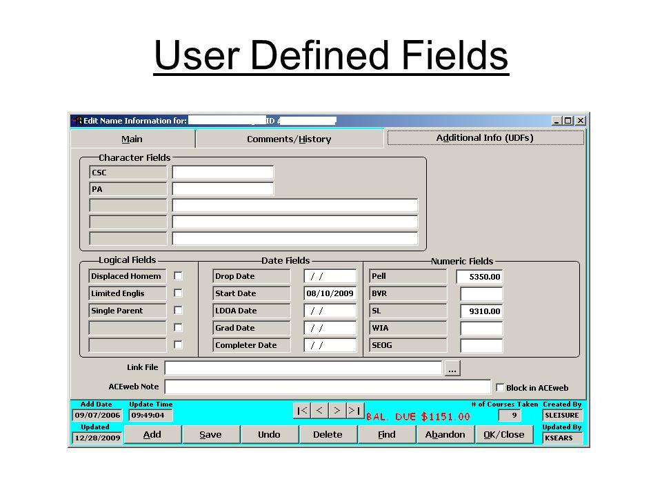 User Defined Fields