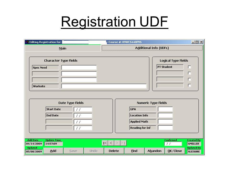Registration UDF