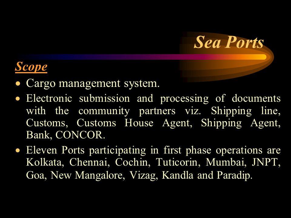 Sea Ports Scope  Cargo management system.
