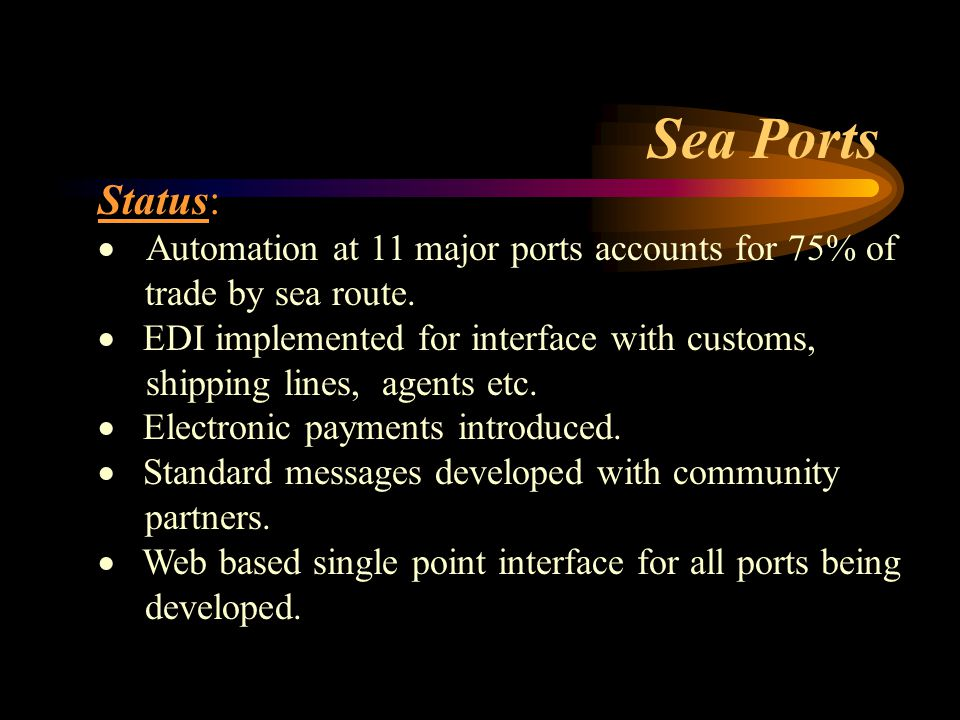 Status:  Automation at 11 major ports accounts for 75% of trade by sea route.