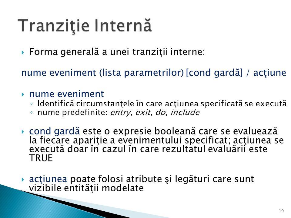  Forma generală a unei tranziţii interne: nume eveniment (lista parametrilor) [cond gardă] / acţiune  nume eveniment ◦ Identifică circumstanţele în