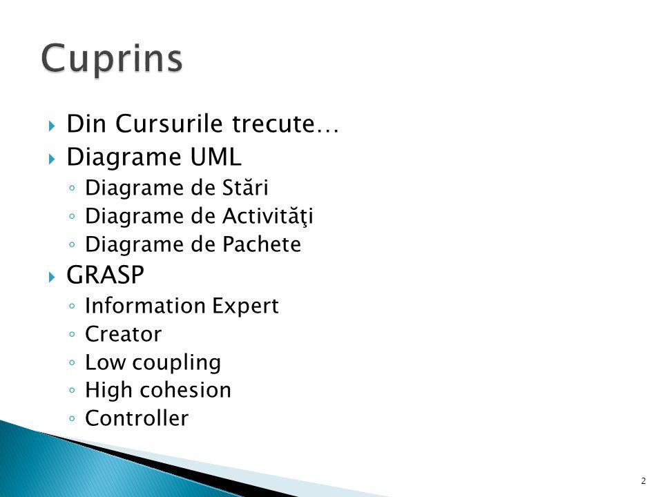  Din Cursurile trecute…  Diagrame UML ◦ Diagrame de Stări ◦ Diagrame de Activităţi ◦ Diagrame de Pachete  GRASP ◦ Information Expert ◦ Creator ◦ Lo