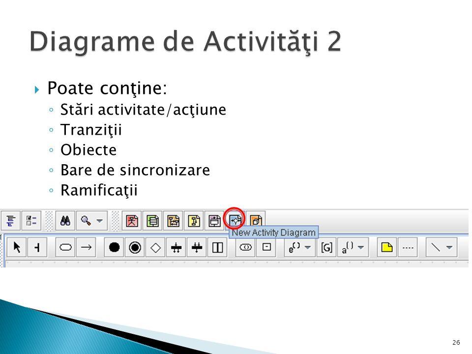  Poate conţine: ◦ Stări activitate/acţiune ◦ Tranziţii ◦ Obiecte ◦ Bare de sincronizare ◦ Ramificaţii 26