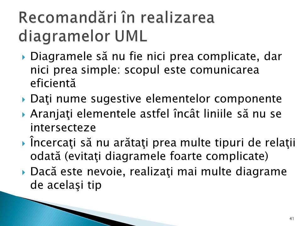  Diagramele să nu fie nici prea complicate, dar nici prea simple: scopul este comunicarea eficientă  Daţi nume sugestive elementelor componente  Ar
