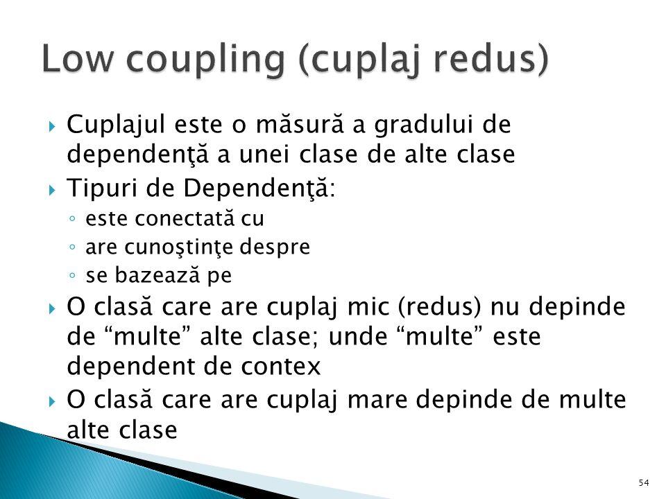  Cuplajul este o măsură a gradului de dependenţă a unei clase de alte clase  Tipuri de Dependenţă: ◦ este conectată cu ◦ are cunoştinţe despre ◦ se