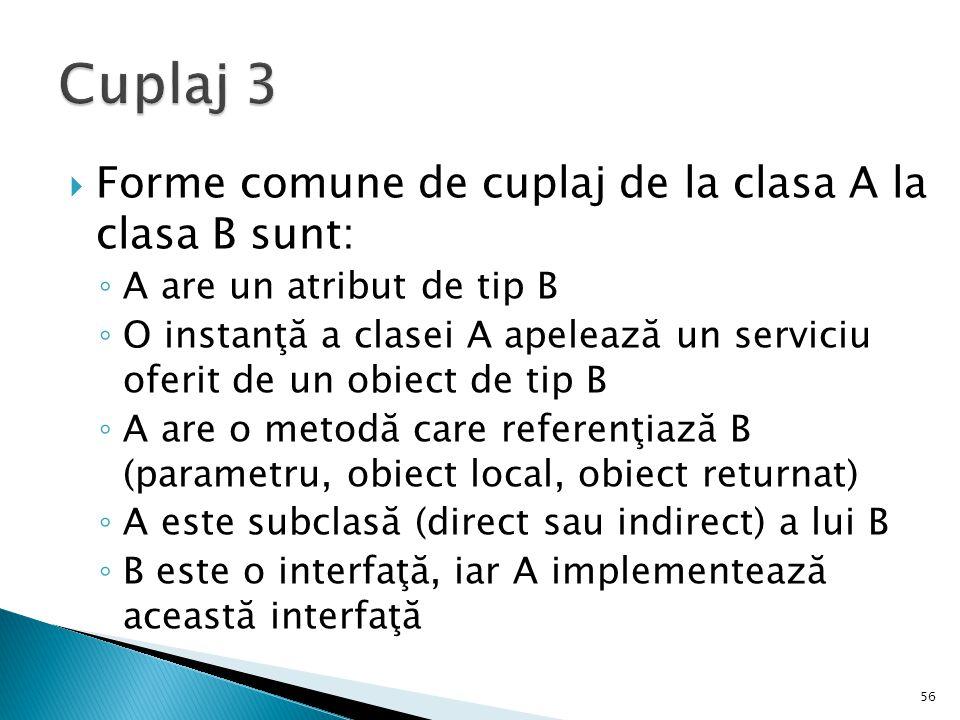  Forme comune de cuplaj de la clasa A la clasa B sunt: ◦ A are un atribut de tip B ◦ O instanţă a clasei A apelează un serviciu oferit de un obiect d