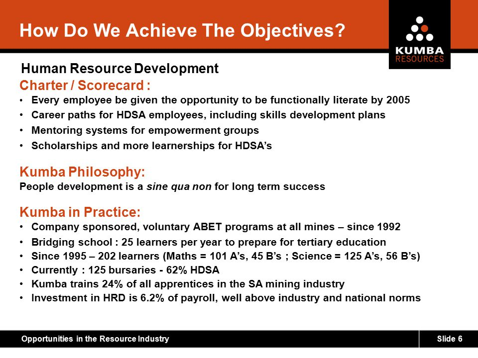 Slide 6Opportunities in the Resource Industry How Do We Achieve The Objectives? Human Resource Development Charter / Scorecard : Every employee be giv