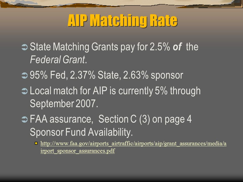 AIP Matching Rate  State Matching Grants pay for 2.5% of the Federal Grant.