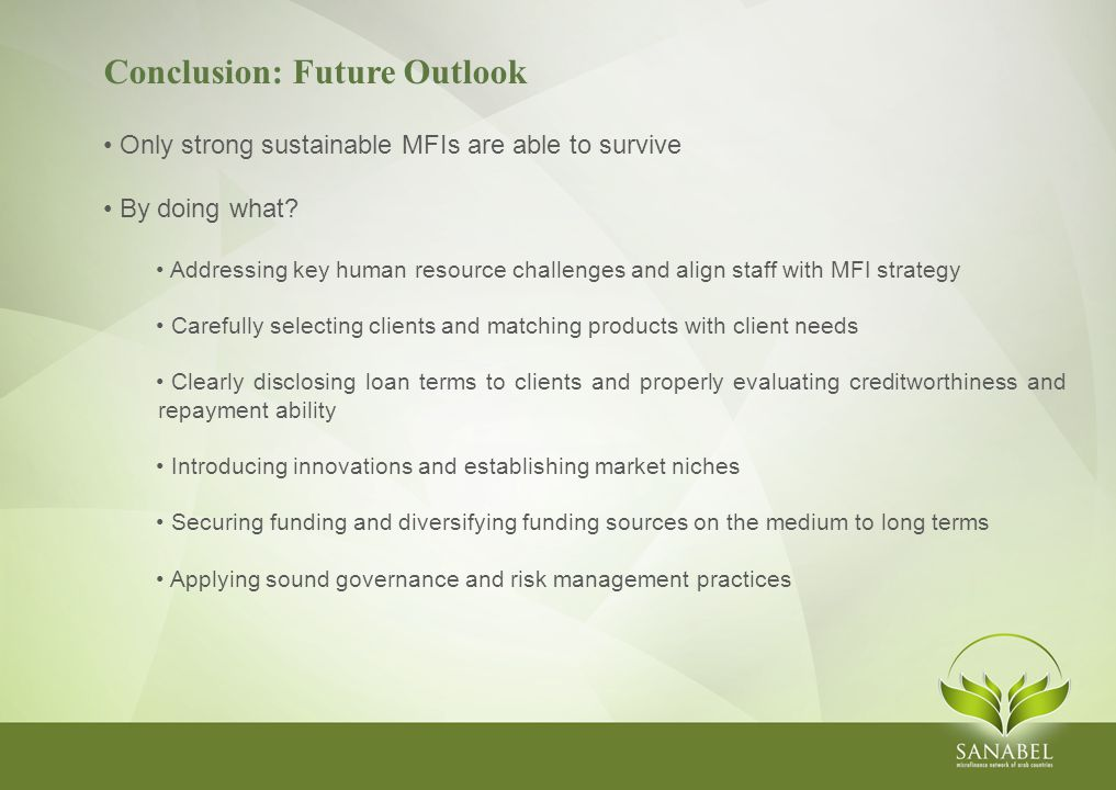 Conclusion: Future Outlook Only strong sustainable MFIs are able to survive By doing what.