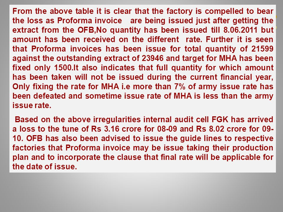 From the above table it is clear that the factory is compelled to bear the loss as Proforma invoice are being issued just after getting the extract from the OFB,No quantity has been issued till 8.06.2011 but amount has been received on the different rate.