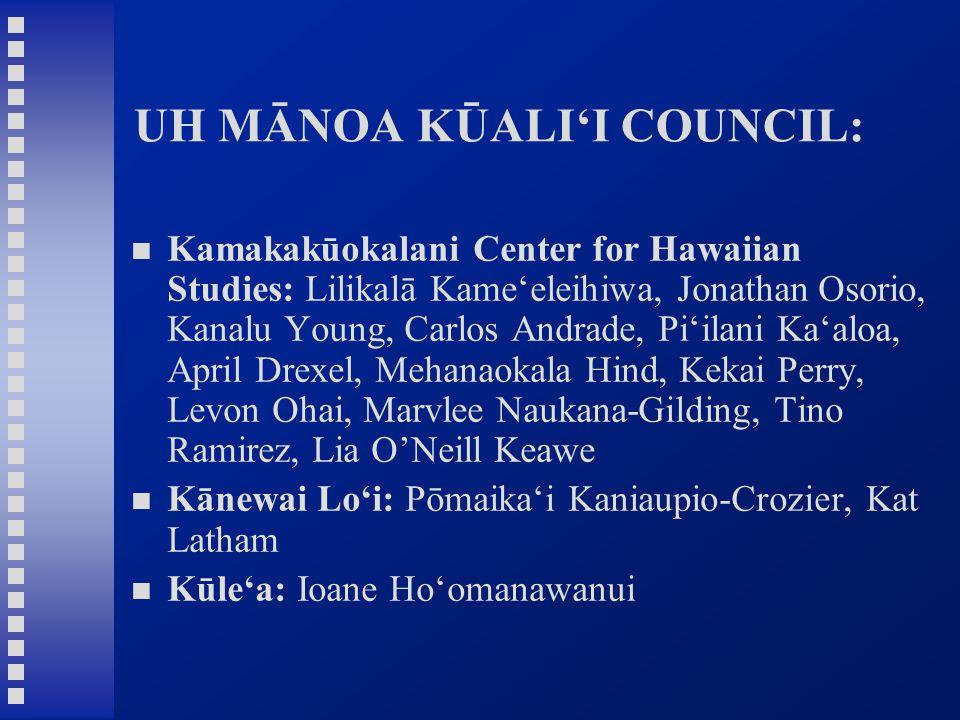 UH MĀNOA KŪALI'I COUNCIL: Kamakakūokalani Center for Hawaiian Studies: Lilikalā Kame'eleihiwa, Jonathan Osorio, Kanalu Young, Carlos Andrade, Pi'ilani Ka'aloa, April Drexel, Mehanaokala Hind, Kekai Perry, Levon Ohai, Marvlee Naukana-Gilding, Tino Ramirez, Lia O'Neill Keawe Kānewai Lo'i: Pōmaika'i Kaniaupio-Crozier, Kat Latham Kūle'a: Ioane Ho'omanawanui