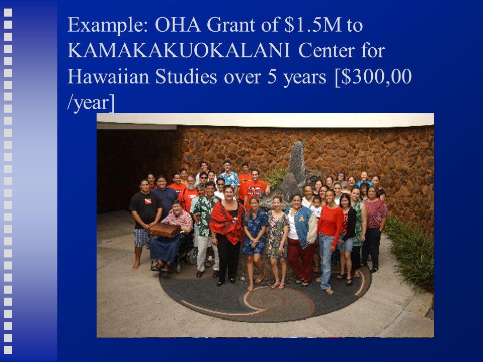 Example: OHA Grant of $1.5M to KAMAKAKUOKALANI Center for Hawaiian Studies over 5 years [$300,00 /year]