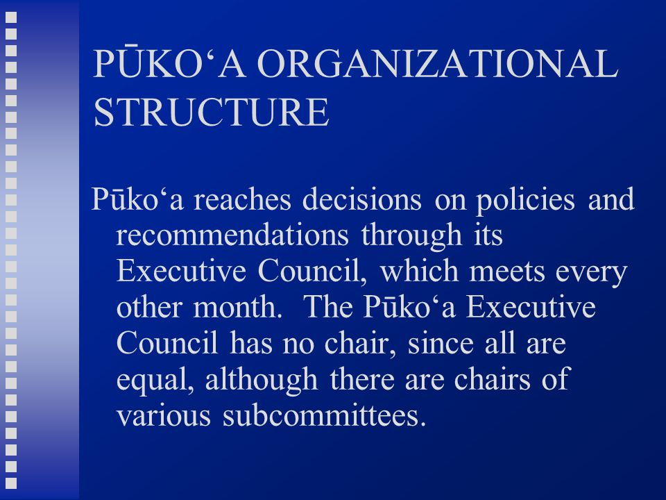 PŪKO'A ORGANIZATIONAL STRUCTURE Pūko'a reaches decisions on policies and recommendations through its Executive Council, which meets every other month.