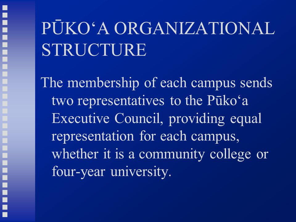 PŪKO'A ORGANIZATIONAL STRUCTURE The membership of each campus sends two representatives to the Pūko'a Executive Council, providing equal representation for each campus, whether it is a community college or four-year university.