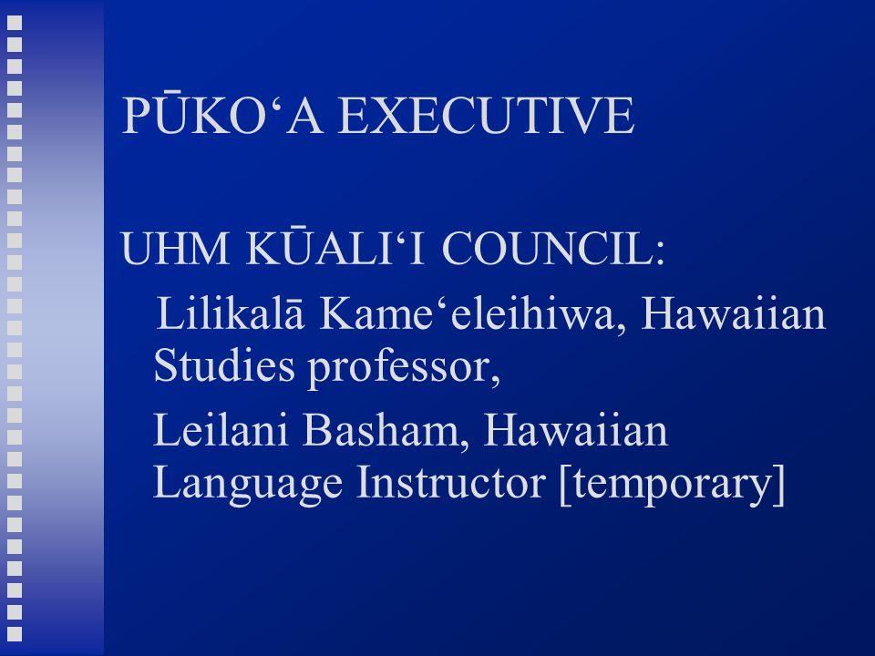 PŪKO'A EXECUTIVE UHM KŪALI'I COUNCIL: Lilikalā Kame'eleihiwa, Hawaiian Studies professor, Leilani Basham, Hawaiian Language Instructor [temporary]