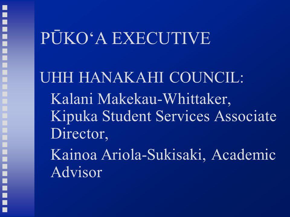 PŪKO'A EXECUTIVE UHH HANAKAHI COUNCIL: Kalani Makekau-Whittaker, Kipuka Student Services Associate Director, Kainoa Ariola-Sukisaki, Academic Advisor