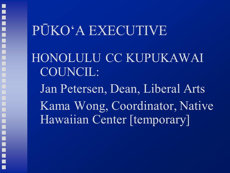 PŪKO'A EXECUTIVE HONOLULU CC KUPUKAWAI COUNCIL: Jan Petersen, Dean, Liberal Arts Kama Wong, Coordinator, Native Hawaiian Center [temporary]