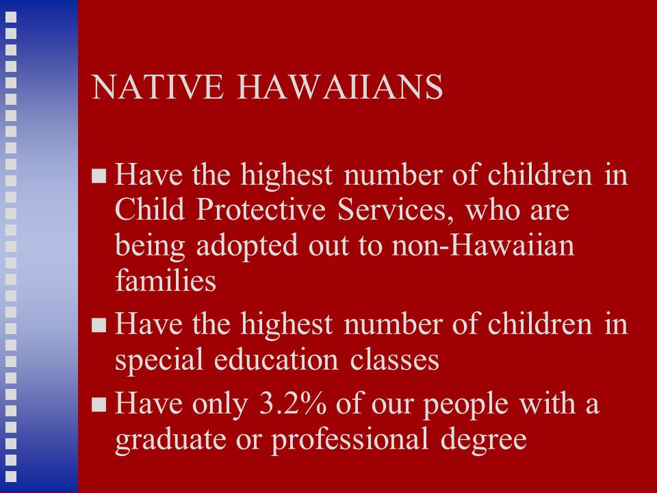 NATIVE HAWAIIANS Have the highest number of children in Child Protective Services, who are being adopted out to non-Hawaiian families Have the highest number of children in special education classes Have only 3.2% of our people with a graduate or professional degree