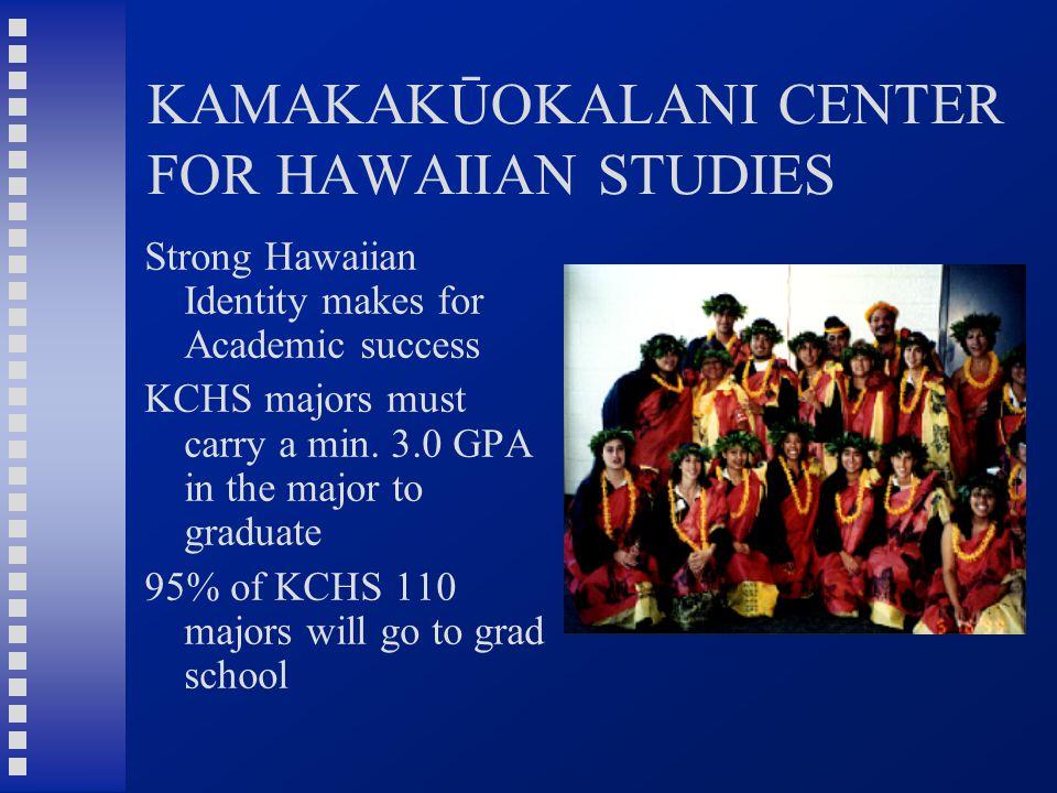 KAMAKAKŪOKALANI CENTER FOR HAWAIIAN STUDIES Strong Hawaiian Identity makes for Academic success KCHS majors must carry a min. 3.0 GPA in the major to