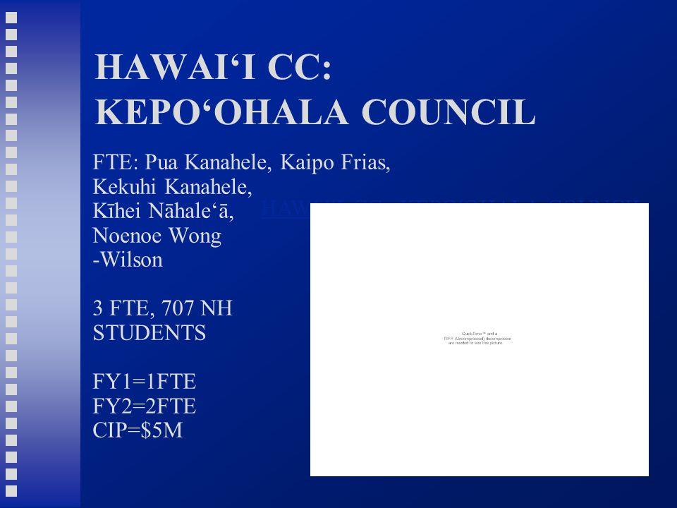 HAWAI'I CC: KEPO'OHALA COUNCIL FTE: Pua Kanahele, Kaipo Frias, Kekuhi Kanahele, Kīhei Nāhale'ā, Noenoe Wong -Wilson 3 FTE, 707 NH STUDENTS FY1=1FTE FY2=2FTE CIP=$5M HAWAI ʻ I CC: KEPO ʻ OHALA COUNCIL