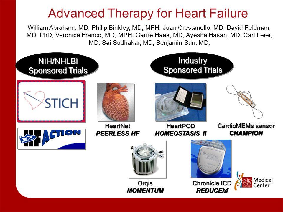 Advanced Therapy for Heart Failure William Abraham, MD; Philip Binkley, MD, MPH; Juan Crestanello, MD; David Feldman, MD, PhD; Veronica Franco, MD, MPH; Garrie Haas, MD; Ayesha Hasan, MD; Carl Leier, MD; Sai Sudhakar, MD, Benjamin Sun, MD; HeartNet PEERLESS HF HeartPOD HOMEOSTASIS II OrqisMOMENTUM Chronicle ICD REDUCEhf NIH/NHLBI Sponsored Trials Industry Sponsored Trials CardioMEMs sensor CHAMPION