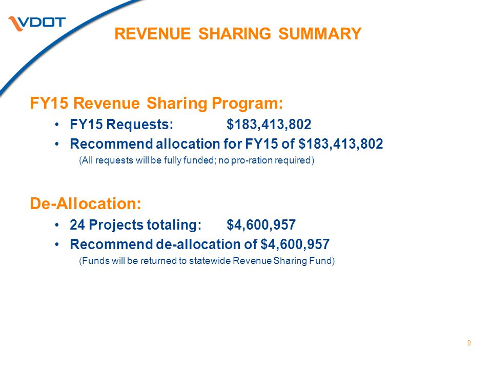 REVENUE SHARING SUMMARY FY15 Revenue Sharing Program: FY15 Requests: $183,413,802 Recommend allocation for FY15 of $183,413,802 (All requests will be fully funded; no pro-ration required) De-Allocation: 24 Projects totaling: $4,600,957 Recommend de-allocation of $4,600,957 (Funds will be returned to statewide Revenue Sharing Fund) 9
