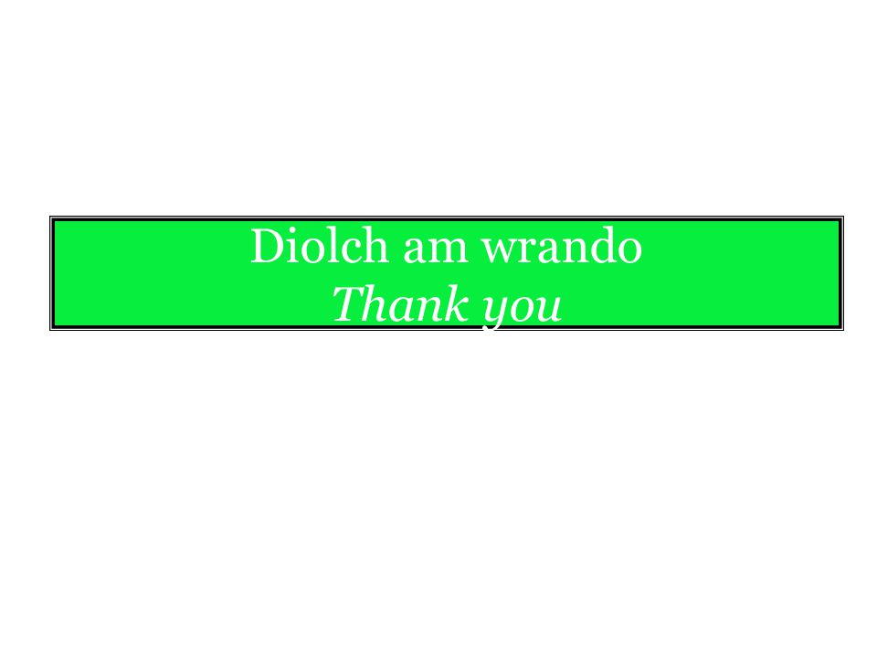 Diolch am wrando Thank you