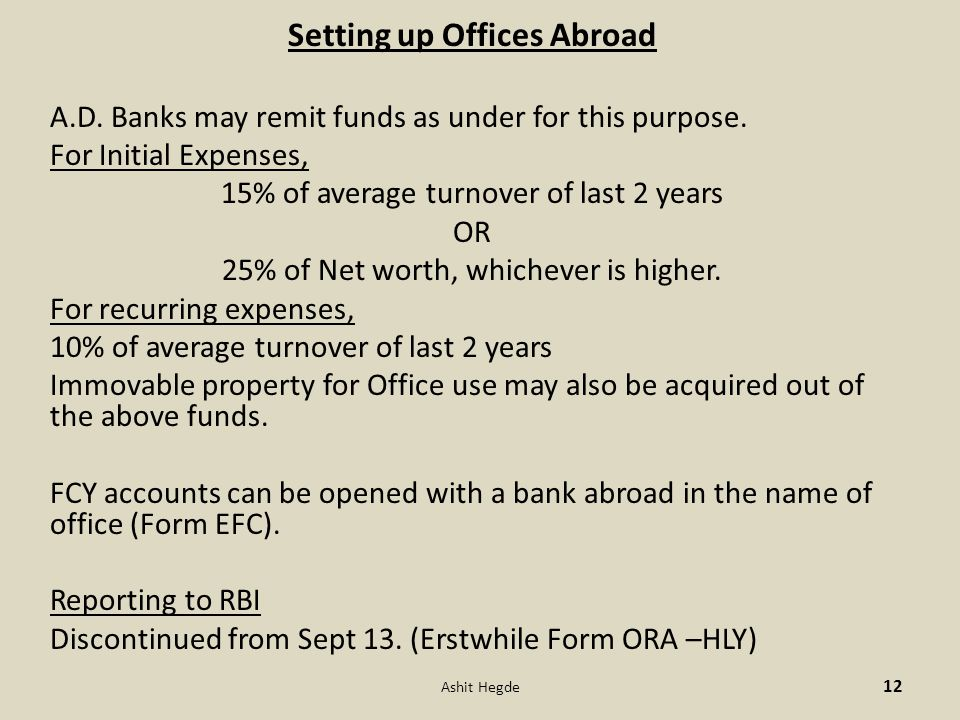 Setting up Offices Abroad A.D. Banks may remit funds as under for this purpose.