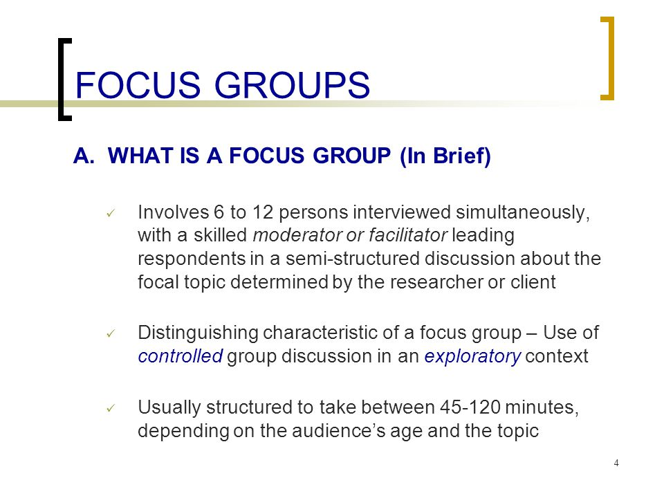 FOCUS GROUPS A.