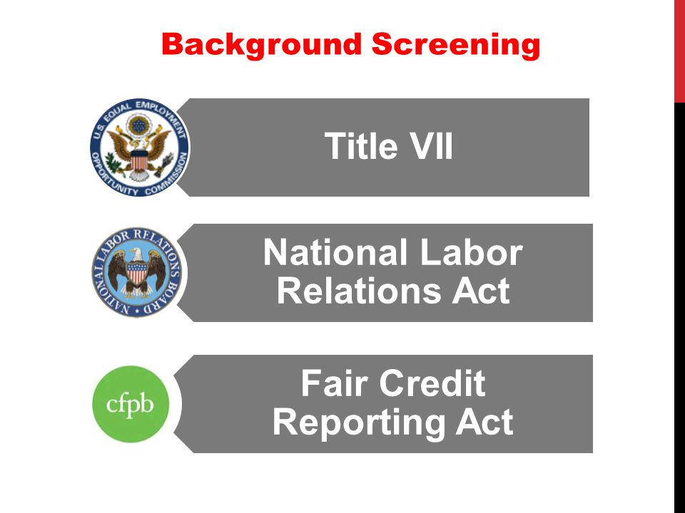 Background Screening Title VII Fair Credit Reporting Act National Labor Relations Act