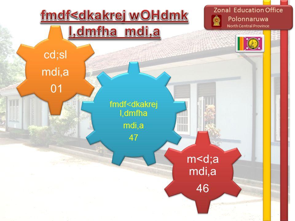 Zonal Education Office Polonnaruwa North Central Province Zonal Education Office Polonnaruwa North Central Province m<d;a mdi,a 46 m<d;a mdi,a 46 cd;sl mdi,a 01 cd;sl mdi,a 01 fmdf<dkakrej l,dmfha mdi,a 47 fmdf<dkakrej l,dmfha mdi,a 47