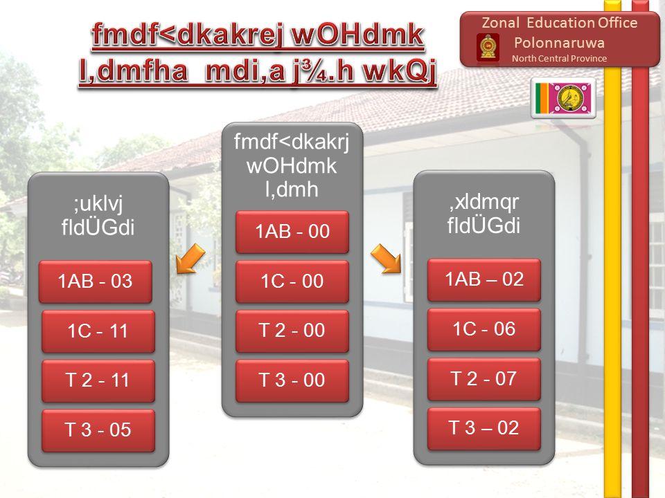 Zonal Education Office Polonnaruwa North Central Province Zonal Education Office Polonnaruwa North Central Province ;uklvj fldÜGdi 1AB - 031C - 11T 2 - 11T 3 - 05 fmdf<dkakrj wOHdmk l,dmh 1AB - 001C - 00T 2 - 00T 3 - 00,xldmqr fldÜGdi 1AB – 021C - 06T 2 - 07T 3 – 02