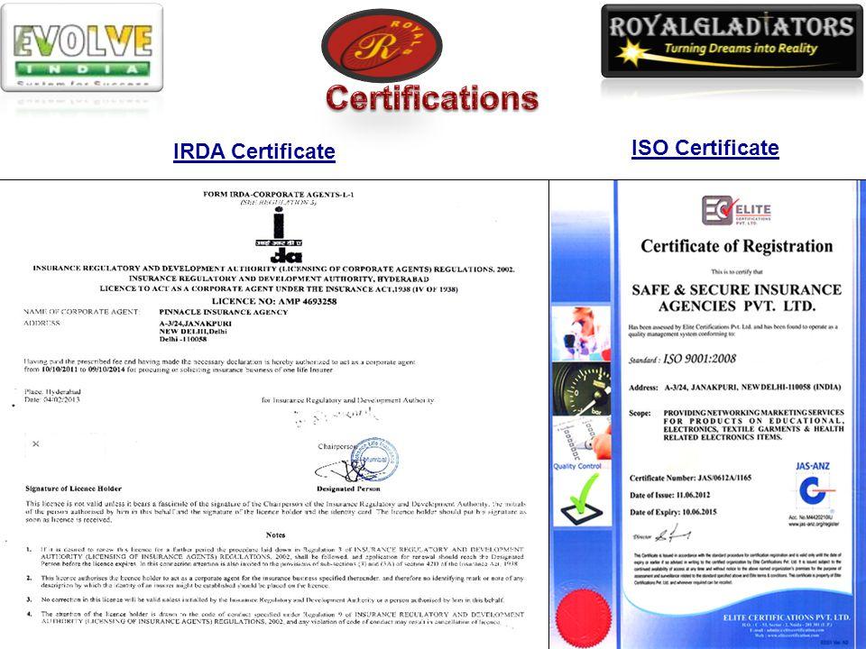 IRDA Certificate ISO Certificate