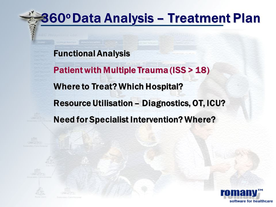 360 o Data Analysis – Treatment Plan Functional Analysis Patient with Multiple Trauma (ISS > 18) Where to Treat? Which Hospital? Resource Utilisation