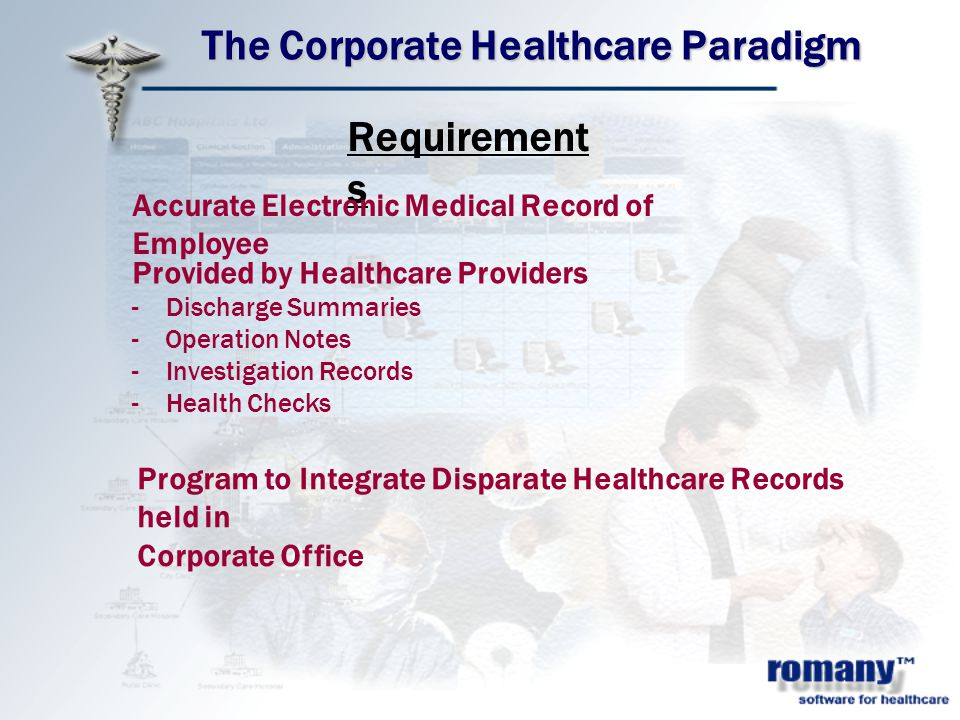 The Corporate Healthcare Paradigm Requirement s Accurate Electronic Medical Record of Employee Provided by Healthcare Providers - Discharge Summaries