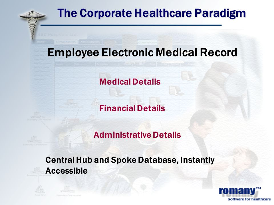 The Corporate Healthcare Paradigm Employee Electronic Medical Record Medical Details Financial Details Administrative Details Central Hub and Spoke Database, Instantly Accessible