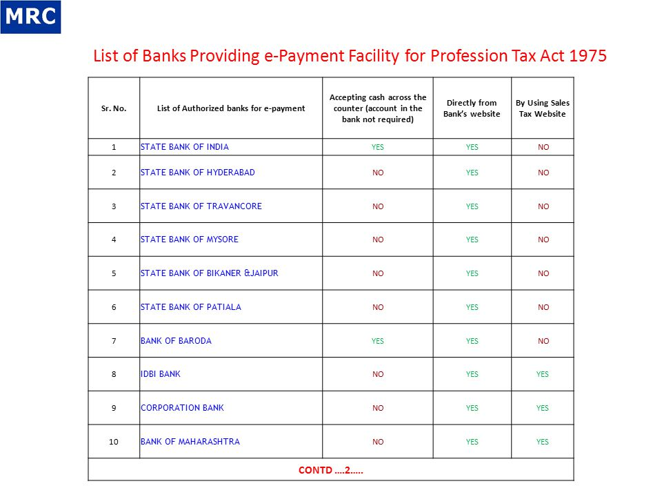 List of Banks Providing e-Payment Facility for Profession Tax Act 1975 Sr. No.List of Authorized banks for e-payment Accepting cash across the counter