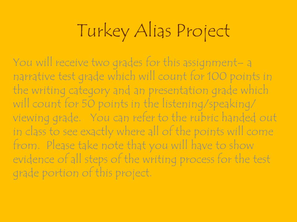 Turkey Alias Project You will receive two grades for this assignment– a narrative test grade which will count for 100 points in the writing category a
