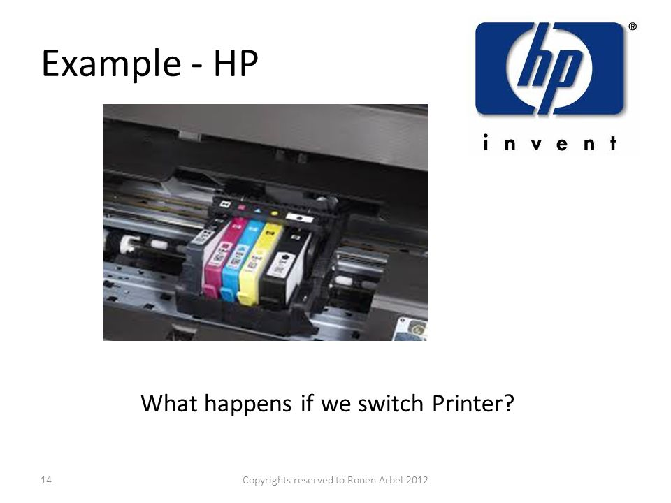 Example - HP Copyrights reserved to Ronen Arbel 201214 What happens if we switch Printer