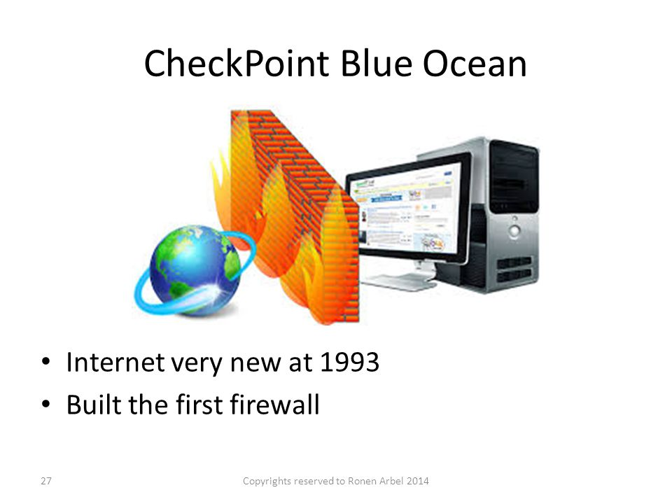CheckPoint Blue Ocean Copyrights reserved to Ronen Arbel 201427 Internet very new at 1993 Built the first firewall