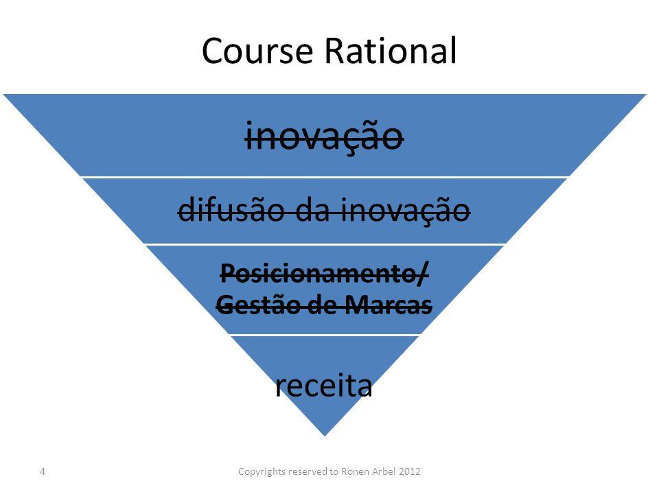 Course Rational inovação difusão da inovação Posicionamento/ Gestão de Marcas receita Copyrights reserved to Ronen Arbel 20124