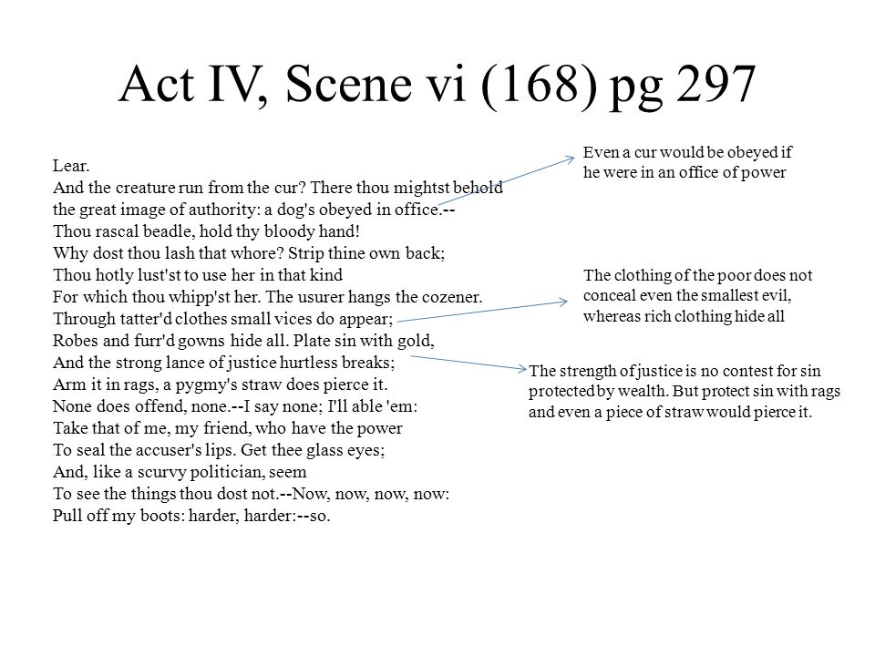 Act IV, Scene vi (168) pg 297 Lear. And the creature run from the cur.